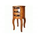 y13380-原木鍛鐵桶狀三抽電話桌(無庫存)