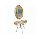 y13374-原木鍛鐵玄關桌+鏡(無庫存)