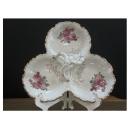 y12309玫瑰陶瓷3格果盤