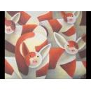 y00089 油畫 紅豬