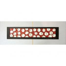 紅底銀玫瑰 y13006 玻璃壁飾系列