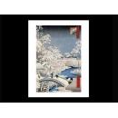 y09484 複製畫 Hiroshige 安藤廣重-橋上雪景(PF1137)