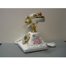 y13429 白色方底粉紫玫瑰復古電話(無庫存)