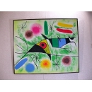 y00393 油畫 抽象畫〈百艷鳥〉