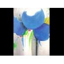 y00398 油畫 藍色圓圈油畫