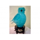 藝術玻璃-小貓頭鷹燈 y12354 水晶飾品系列-桌燈-小貓頭鷹燈 水青色 (茶色 紫色)