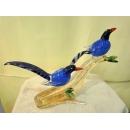 藝術玻璃-鳥類 y12356 水晶飾品系列 鳥類-藍鵲-比翼雙棲A59