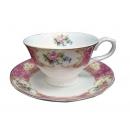 y12508 餐茶玻璃-咖啡茶具-花團錦簇骨瓷六杯盤組附金架