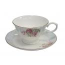 y12509 餐茶玻璃-咖啡茶具-巴黎春天骨瓷六杯盤附金架