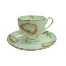 y12511 餐茶玻璃-咖啡茶具-罌粟花骨瓷六杯盤組附金架