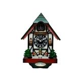 黑森林屋型咕咕鐘-綠色木屋 y11120 時鐘.溫度計.鏡子 咕咕鐘