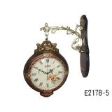 原木白色鑲鑽雙面鐘 y11940 時鐘.溫度計.鏡子 溫度計.壁掛鐘-原木白色鑲鑽雙面鐘 (兩款雙色)