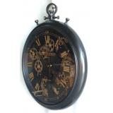 y15714-( 時鐘.溫度計-鏡子-溫度計.壁掛鐘-巴黎懷錶造型時鐘(旋轉機械)