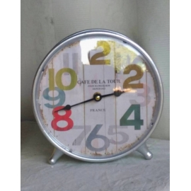 y15716- 時鐘.溫度計-鏡子-桌鐘-圓筒座鐘
