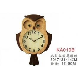 y15777 時鐘.溫度計.鏡子 溫度計.壁掛鐘-木製貓頭鷹擺鐘