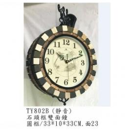 y15778 時鐘.溫度計.鏡子 溫度計.壁掛鐘-石頭框雙面鐘/靜音