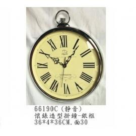 y15782 時鐘.溫度計.鏡子 溫度計.壁掛鐘-懷錶造型掛鐘-銀色框/靜音---另有款式/金色框