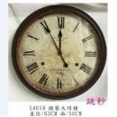 y15783 時鐘.溫度計.鏡子 溫度計.壁掛鐘-鐵藝大時鐘 / 跳秒