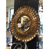 y15898 時鐘.溫度計.鏡子- 鏡子  圓形金色鐵材復古鏡