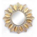 y15899 時鐘.溫度計.鏡子- 鏡子  金色葉子鐵材復古鏡