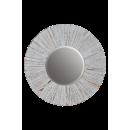 y15900 時鐘.溫度計.鏡子- 鏡子  圓形刷白木框鏡