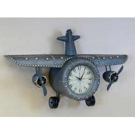 y15903 時鐘.溫度計.鏡子-溫度計.壁掛鐘-飛機造型鐘