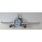 y15904 時鐘.溫度計.鏡子-溫度計.壁掛鐘-飛機造型鐘