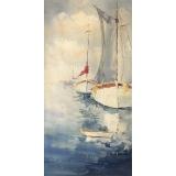 帆船手繪油畫 y16453 畫作系列 - 油畫 - 油畫風景/ 玄關.走廊.過道.意境掛畫客廳沙發背景牆.壁畫(可訂製)