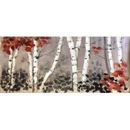 白樺樹 y16454 畫作系列 - 油畫 - 油畫風景/ 玄關.走廊.過道.意境掛畫客廳沙發背景牆.壁畫(可訂製)