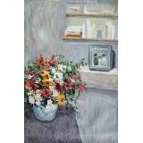 瓶花 -y16460 - 油畫-油畫靜物系列.創意系列 / 創作手繪油畫.客廳.餐廳.臥室.玄關畫