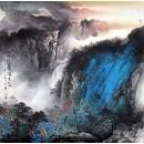 y12824 國畫潑墨山水 山水佳麗