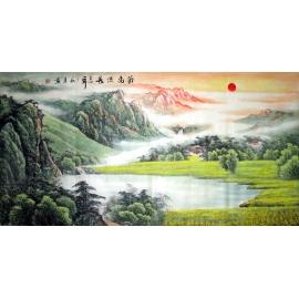 y12828 國畫- 國畫山水  源遠流長 招財聚寶圖(無庫存)