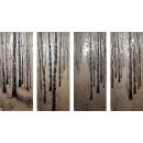 y13450 銀箔版畫-白樺樹林(四幅一組)