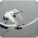 y14030 畫作系列-油畫- 油畫動物系列- 鶴