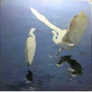 y14102 畫作系列 - 油畫 - 油畫動物- 趙虎燮油畫 白鷺鷥(作品已被收藏)