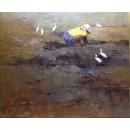 趙虎燮油畫 耕作(作品已被收藏)-y14103 畫作系列 - 油畫 - 油畫人物