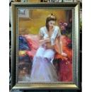 人物系列 - 沉思少女-y14154 畫作系列 - 油畫 - 油畫人物系列