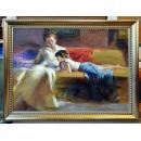 人物系列 -母女看書-y14155 畫作系列 - 油畫 - 油畫人物系列