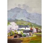 y14207 畫作系列 - 油畫 - 油畫風景- 趙虎燮油畫~山腳下的村落(此作品僅現場展售)
