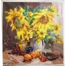 y14110 畫作系列 - 油畫 - 油畫花系列- 向日葵