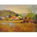 趙虎燮油畫 村落 y14436 畫作系列 - 油畫 - 油畫風景- 村落 (此作品僅現場展售)