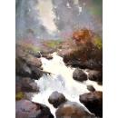 趙虎燮油畫 林間白瀑 (y14724 畫作系列 - 油畫 - 油畫風景) 此作品僅供現場販售