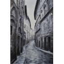 黑白街道油畫-y15342-油畫系列