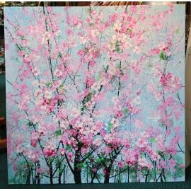 y15642 - 畫作系列 - 油畫 - 油畫花系列-櫻花