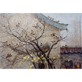 y15679-油畫-油畫風景系列-樹梢的麻雀