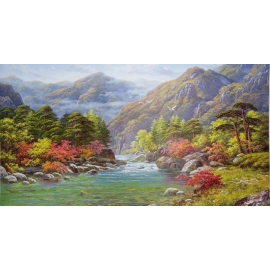 y15680-油畫-油畫風景系列-高山流水