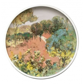 y15956-油畫-油畫風景系列-圓形造型框風景油畫(二)