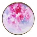 y15958-油畫-油畫花系列-圓形造型框油畫牡丹花(二)