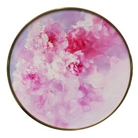 y15959-油畫-油畫花系列-圓形造型框油畫牡丹花(三)