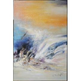 y16017 - 畫作系列 - 油畫 - 油畫抽象系列- 極光系列(手繪)-極光十ㄧ